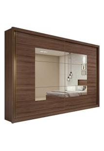 Guarda Roupa Casal C/ Espelho 2 Portas De Correr 6 Gavetas Toronto Plus Imbuia Naturale/Off White/Imbuia Naturale Lopas