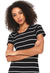 Camiseta Hering Reta Listrada Preta/Branca - Kanui