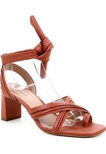 Tamanco Couro Shoestock Soft Amarração - Feminino-Caramelo