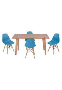 Conjunto Mesa De Jantar Em Madeira 150X80 Vértice + 4 Cadeiras Eiffel - Turquesa
