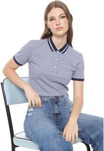 Camisa Polo Tommy Jeans Classics Stripe Azul/Lilás