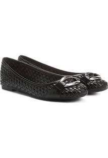 Sapatilha Couro Shoestock Tressê Feminina - Feminino-Preto
