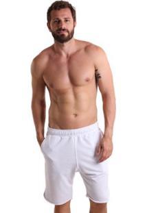 Bermuda Líquido Moletinho Fenda Masculina - Masculino-Branco