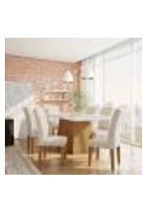 Conjunto De Mesa De Jantar Bianca I Com Vidro E 6 Cadeiras Grécia Veludo Creme E Off White