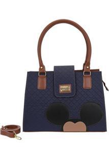 Bolsa Mickey Gouveia Costa Quadrada Alça Ombro Ecológica Forrada - Feminino-Azul