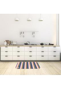 Tapete De Cozinha Mdecore Listrado Colorido 40X60Cm