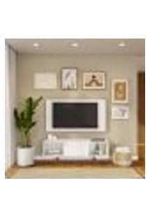 Rack Com Painel Para Tv Até 42 Polegadas Branco 135 Cm