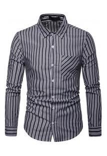 Camisa Masculina Com Listras Verticais Finas Manga Longa - Preto