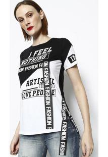 Camiseta Com Inscrições & Recortes- Branca & Pretadimy