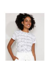 Camiseta Feminina Estampada Manga Curta De Gatos Decote Redondo Branca