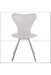 Cadeira Jacobsen Cromada Corino Branco - 12346 - Sun House