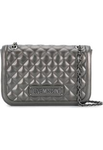 Love Moschino Quilted Logo Tote - Cinza