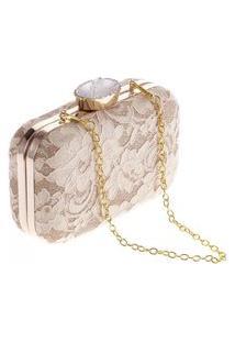 Bolsa Clutch Liage Alça Removível Tecido Renda Metal Strass Cristal Pedra Dourada Nude