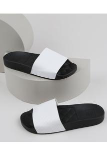 Chinelo Slide Feminino Moleca Texturizado Branco
