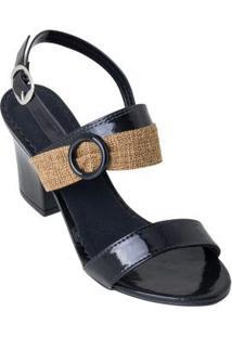 Sandália Preta Com Detalhe Em Tecido