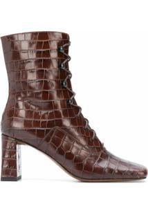 By Far Square-Toe Crocodile Ankle Boots - Marrom