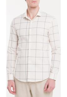 Camisa Slim Mg Longa Mono Grid - Branco 2 - 1