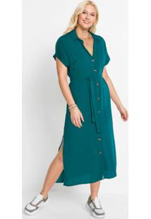 Vestido Com Abotoamento Frontal Verde Oliva