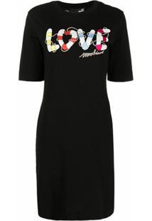 Love Moschino Vestido Reto Com Estampa Gráfica - Preto