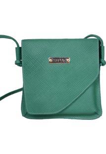 Bolsa Transversal De Couro - Feminino-Verde Escuro