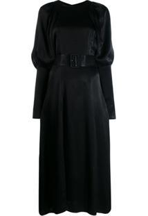 Rotate Vestido Midi Com Cinto - Preto