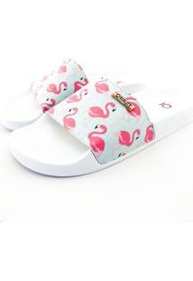 Chinelo Slide Quality Shoes Feminino Flamingo Rosa/Verde Sola Branca 28 28