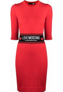 Love Moschino Vestido De Tricô Com Logo - Vermelho