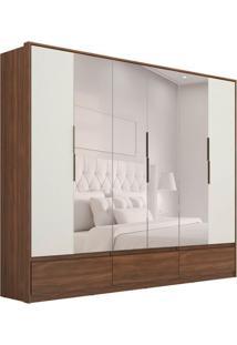 Guarda-Roupa Casal Com Espelho Moara Ii 6 Pt 7 Gv Âmbar E Off White