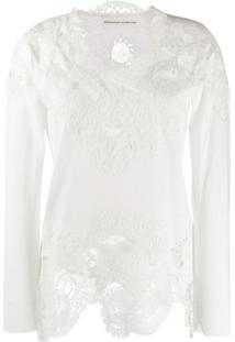 Ermanno Scervino Blusa Com Detalhe De Renda Floral - Branco