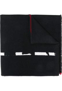 Alexander Mcqueen Cachecol De Trama Tricotada Com Logo Grafite - Preto