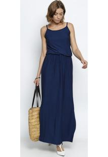 Vestido Longo Com Fenda- Azul Marinho- Maria Padilhamaria Padilha