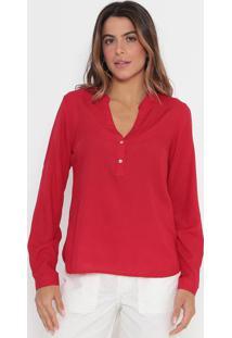 Blusa Lisa Com Botões- Vermelhavip Reserva