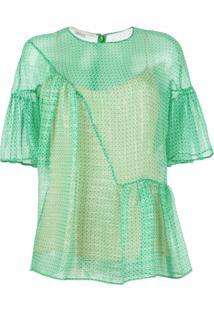 Stella Mccartney Blusa Com Sobreposição Translúcida - Verde