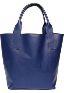 Bolsa Com Pesponto Em Couro - Azul - 33X47X17Cmiã³Dice