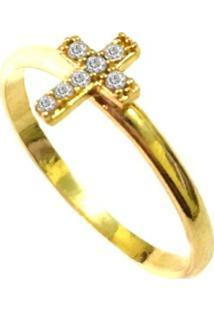 Anel Prata Mil Cruz De Ouro Com Zircônia Ouro - Kanui