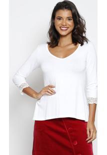 Blusa Lisa Com Tule Bordado - Branca - Thiptonthipton