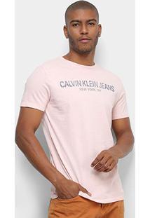 Camiseta Calvin Klein Jeans Manga Curta Masculina - Masculino-Rosa Claro