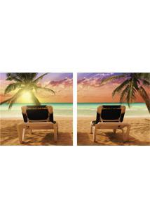 Quadro Decorativo Duplo De Acrílico De Parede Paisagem Praia 40X40 - Art Frame