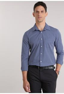 Camisa Comfort Xadrez Azul Marinho
