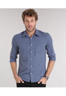 Camisa Masculina Comfort Xadrez Manga Longa Com Bolso Azul Marinho