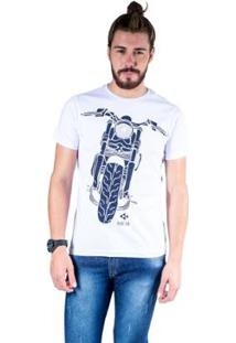 Camiseta Mister Fish Estampado Motorcycle Masculina - Masculino-Branco
