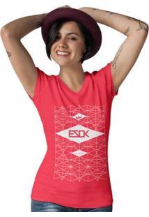 Camiseta Gola V Ezok Urban Feminina - Feminino-Vermelho