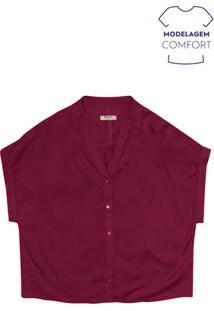 Camisa Feminina Básica Em Tecido De Viscose Com Gola Padre