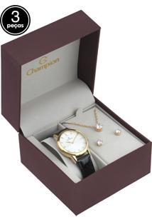 Kit 3 Pçs Relógio Champion Cn28287A Preto