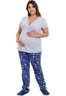 Pijama Gestante Plus Size Astronauta Luna Cuore Feminino - Feminino-Cinza