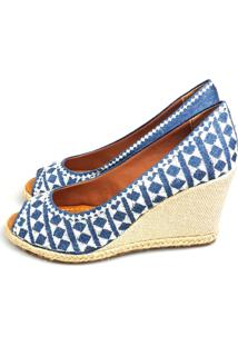 Anabela Love Shoes Alta Espadrille Bordado Branco Com Jeans