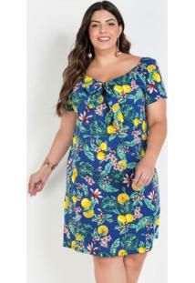 Vestido Ombro A Ombro Frutas Plus Size