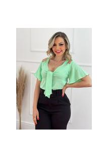 Blusa Detalhe Laço Busto Verde Fluor