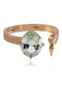 Anel Shapes Oval Rosa Com Prasiolita E Diamante Ttlb - 17