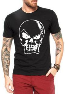 Camiseta Criativa Urbana Bad Caveira - Masculino-Preto